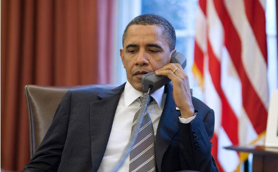 Obama on Phone