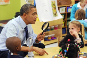 Obama visits an early childhood center in Decatur, Georgia to push his proposal.  (BRENDAN SMIALOWSKI/AFP/GETTY IMAGES)