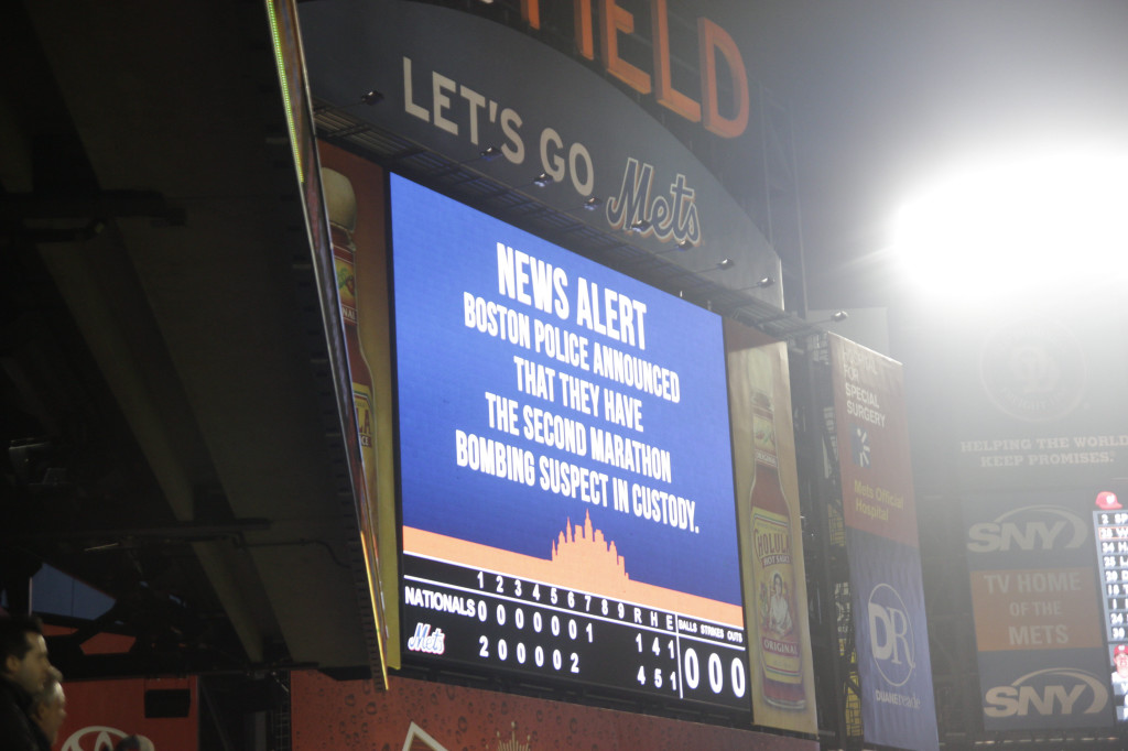 Citifield. Queens, NY. 9:30 PM EST, Friday, April 19, 2013.