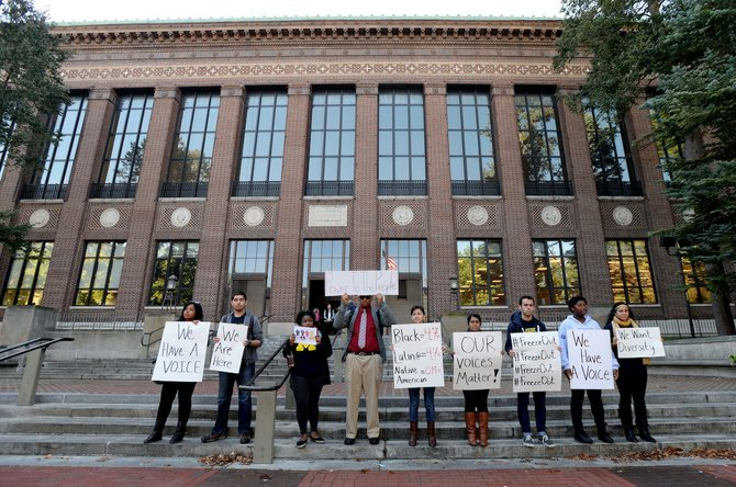 University of Michigan students at a pro-diversity rally on October 9, 2013. (AP Photo/The Ann Arbor News, Melanie Maxwell)