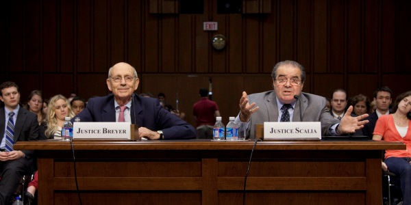 At yesterday's oral argument over a warrantless search, Breyer tries to draw lines while Scalia seems to have made up his mind. Picture via The Atlantic.