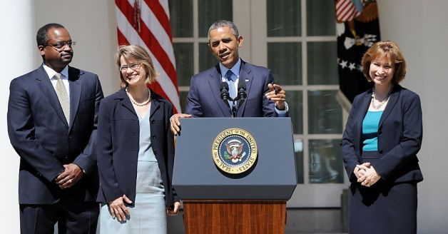 President Obama with D.C. Circuit nominees (L-R) Robert Leon Wilkins, Nina Pillard and Patricia Millett in June 2013. Picture by Olivier Douliery, McClatchy-Tribune News Service.