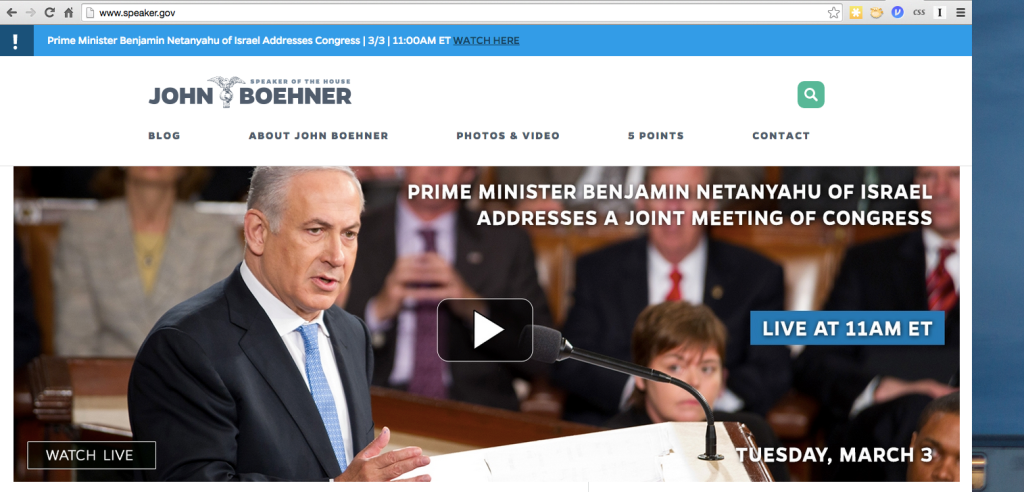 Not what you expected to see on Speaker John Boehner's home page, eh?